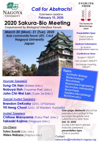 2020Sakura-Bio Meeting   Date: March 30-31, 2020  Venue: Nagoya University